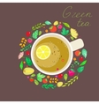 with the image of cups of green tea vector image