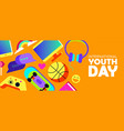 youth day banner of fun teen activity icons vector image vector image