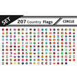 set 207 country flag circle vector image