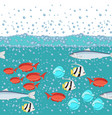 cartoon style fish in the ocean with water bubbles vector image