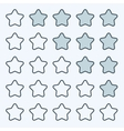 Thin line game rating stars icons buttons vector image
