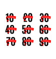 anniversaries numbers with red ribbon vector image vector image