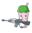 army raspberry bubble tea character cartoon vector image vector image