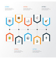 audio colorful outline icons set collection of vector image vector image