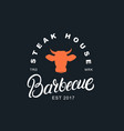barbecue hand written lettering label vector image
