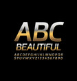 beautiful gold alphabet letters and numbers vector image