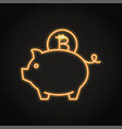 bitcoin saving concept icon in neon line style vector image vector image
