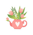 bouquet of pink flowers and leaves in teapot vector image vector image
