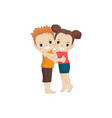 boy and girl huging boy and girl huging vector image