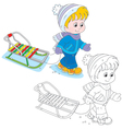 Child walks with a sleigh vector image vector image