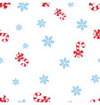 christmas candy cane and snowflake seamless vector image