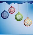 christmas tree balls on ropes vector image