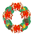Christmas wreath with ribbons vector image vector image