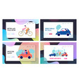city traffic website landing page set people vector image vector image