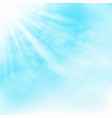 clear sun shine on blue sky with clouds background vector image