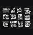 collection of back to school lettering written vector image