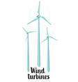 collection of three spinning wind turbines vector image vector image