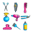 colorful cartoon hairdressing set isolated on vector image