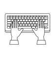 computer keyboard with hands user vector image