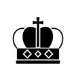crown king icon black sign vector image vector image