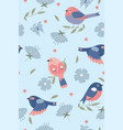 cute spring birds seamless pattern graphics vector image