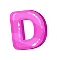 d pink glossy bright english letter kids font vector image vector image