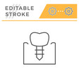 dental implant editable stroke line icon vector image vector image