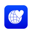 earth world globe with heart icon digital blue vector image vector image