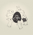 egg with happy easter inscription and cute little vector image vector image
