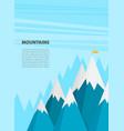 flat flag on mountain success goal achievement vector image vector image