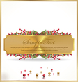 Golden banner with Red and gold berries vector image