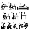 good and bad human body posture stick figure vector image vector image