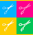 hair cutting scissors sign four styles of icon on vector image vector image