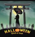 halloween japan two face geisha ghost in graveyard vector image