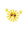 happy rock n roll sun character in sunglasses vector image vector image