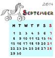 horse calendar 2014 september vector image vector image