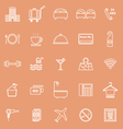Hotel line icons on orange background vector image vector image