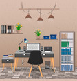 interior of office room including work space with vector image vector image