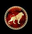 leo zodiac sign in circle frame vector image vector image