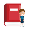 little boy student with book character vector image
