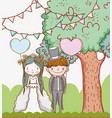 man and woman wedding with tree and hearts vector image vector image