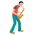 man playing saxophone on white background vector image