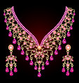 necklace and earrings wedding womens diamond vector image