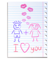 Notebook paper sheet with lips imprint vector image vector image