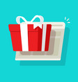 online or internet paper gift box prize win as vector image vector image