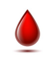 red shiny drop blood isolated on white vector image vector image