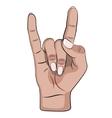Rock hand gesture vector image vector image
