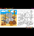 safari animal characters group coloring book vector image vector image