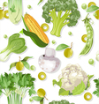 Seamless vegetarian vegetable green ornament vector image vector image
