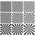 Set light ray pattern sun burst retro pattern